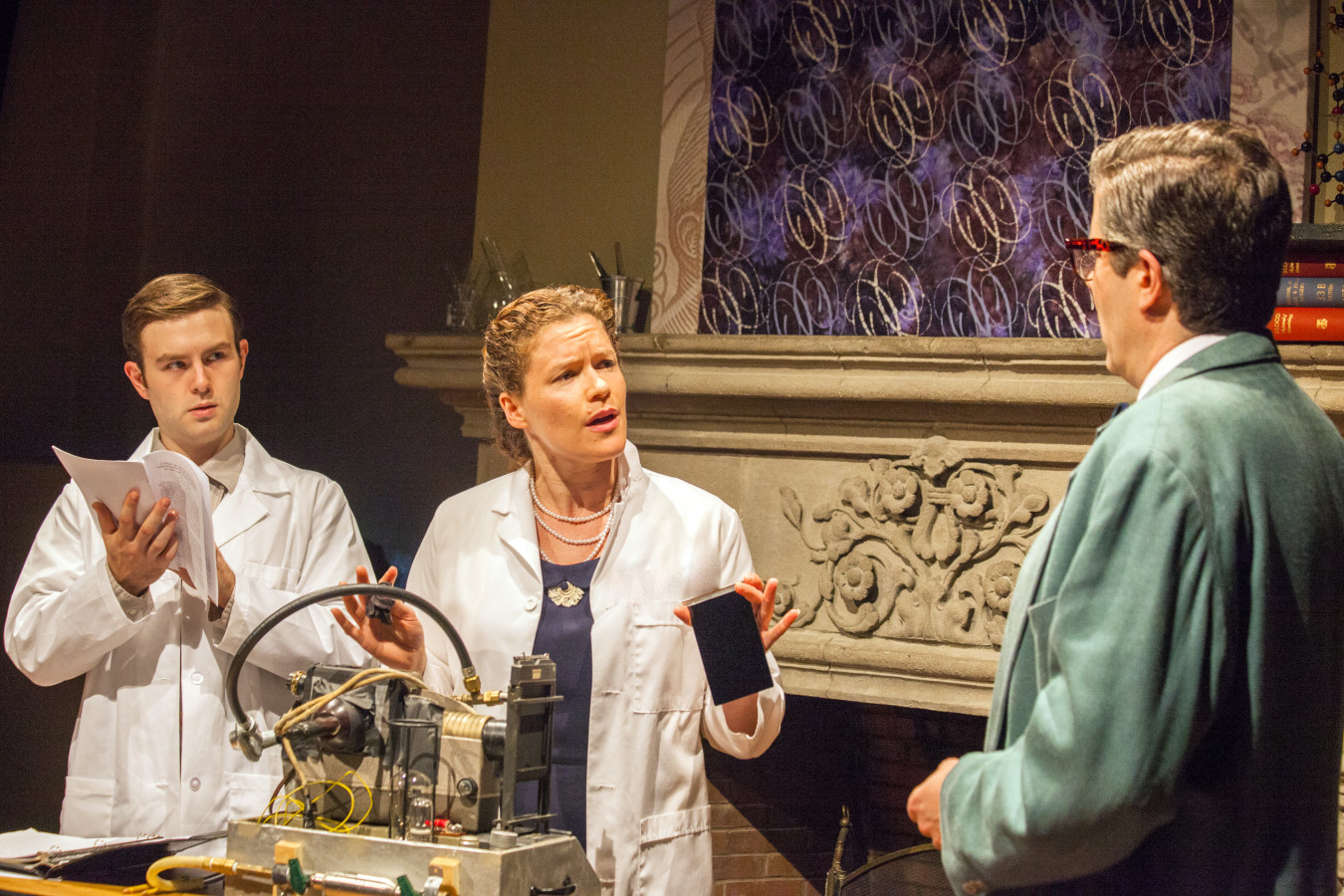 Luke Brady as Raymond Gosling, Laura Lowry as Rosalind Franklin and Matt Weimer as Maurice Wilkins